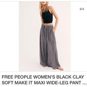 FREE PEOPLE Sz M Wide leg lounge pants carbon gray